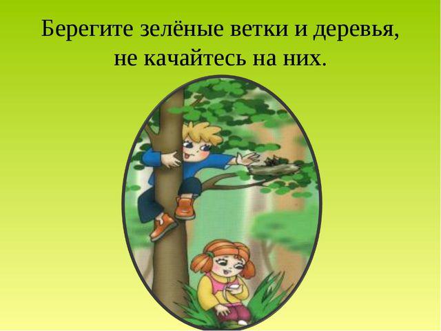 Берегите зелёные ветки и деревья, не качайтесь на них.