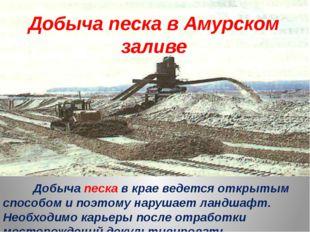 Добыча песка в крае ведется открытым способом и поэтому нарушает ландшафт. Н