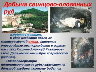 В крае известно около 30 месторождений олова. Основные оловорудные месторожд