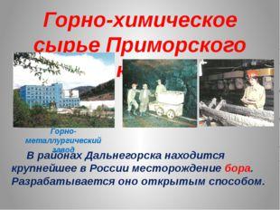 Горно-химическое сырье Приморского края В районах Дальнегорска находится круп