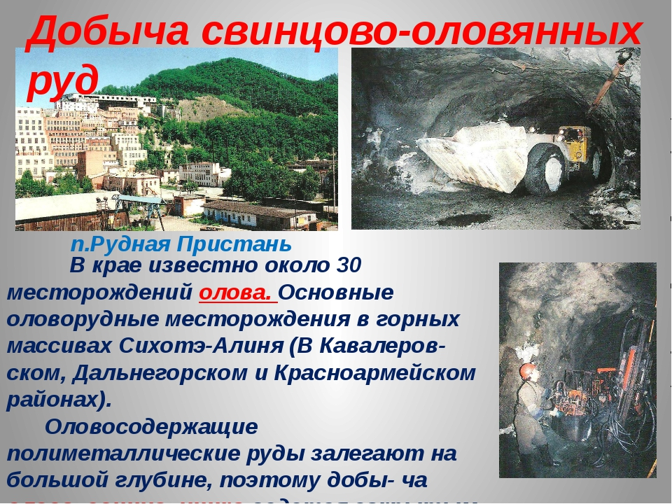В крае известно около 30 месторождений олова. Основные оловорудные месторожд...