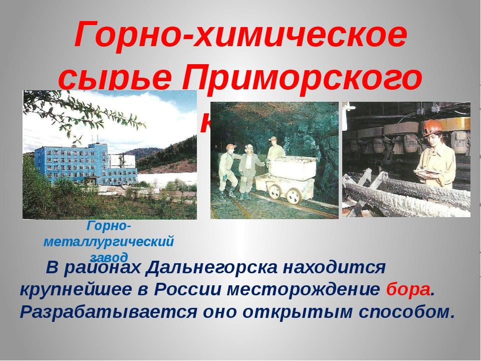 Горно-химическое сырье Приморского края В районах Дальнегорска находится круп...