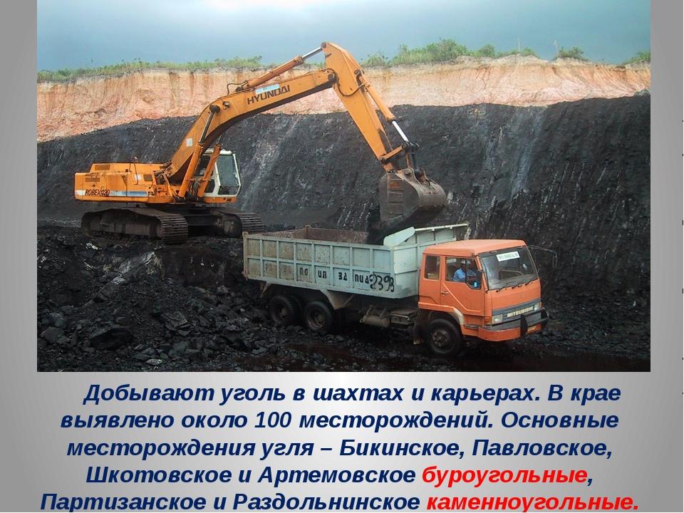 Добывают уголь в шахтах и карьерах. В крае выявлено около 100 месторождений....