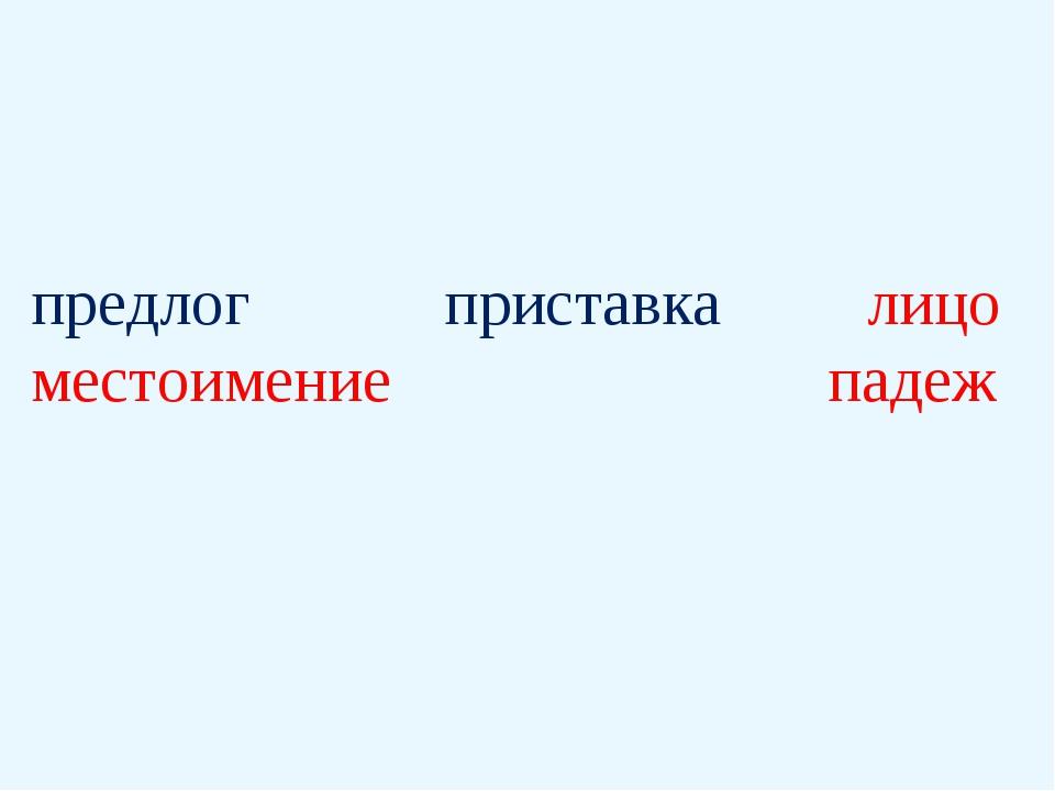 предлог приставка лицо местоимение падеж