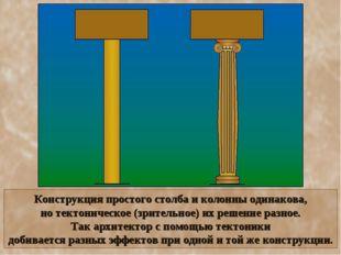 Конструкция простого столба и колонны одинакова, но тектоническое (зрительное