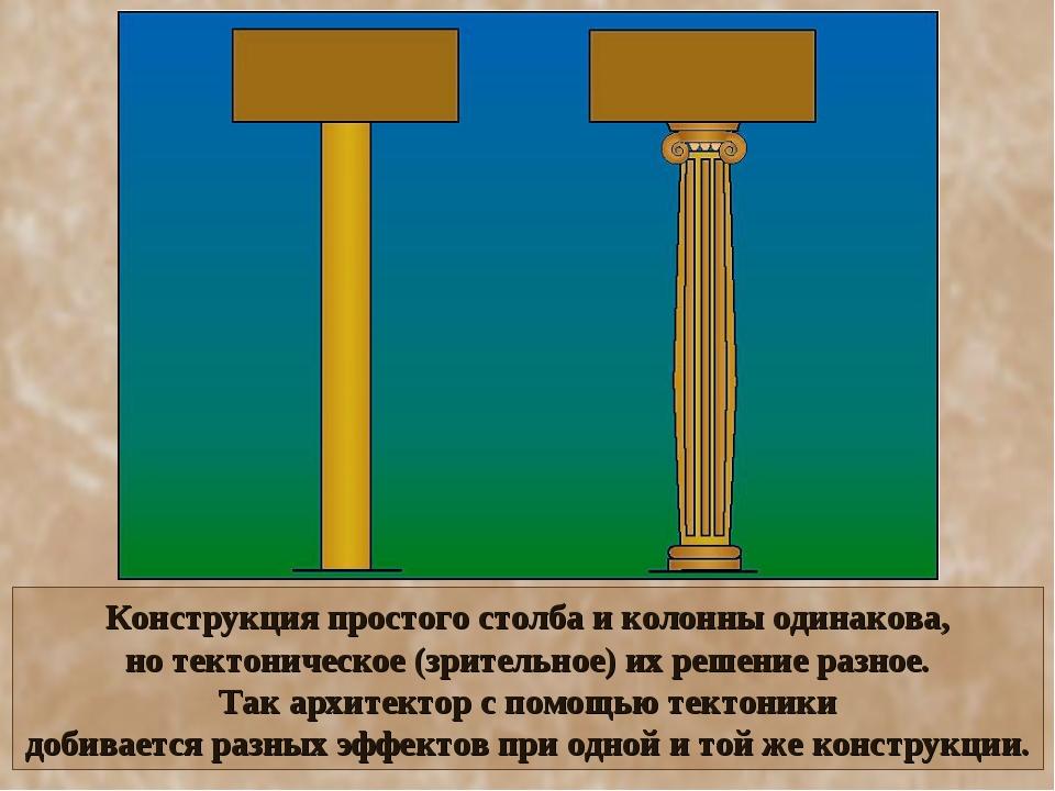 Конструкция простого столба и колонны одинакова, но тектоническое (зрительное...