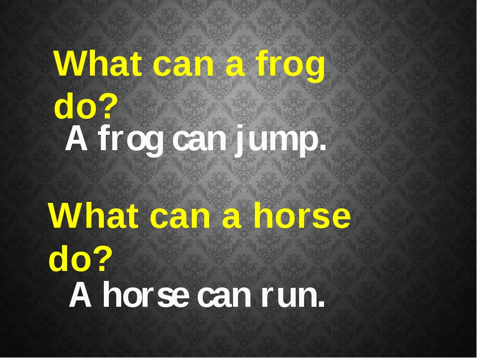 What can a frog do? A frog can jump. What can a horse do? A horse can run.