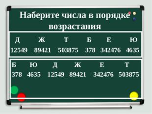 Наберите числа в порядке возрастания Б Ю Д Ж Е Т 378 4635 12549 89421 342476