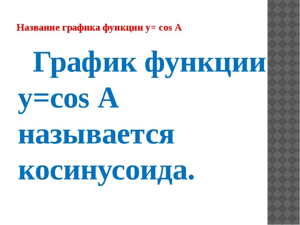 Название графика функции y= cos А График функции y=cos А называется косинусои...