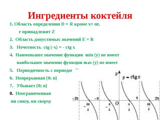 Ингредиенты коктейля 1. Область определения D = R кроме х= пr, r принадлежит...