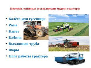 Перечень основных составляющих модели трактора: Колёса или гусеницы Рама Кап