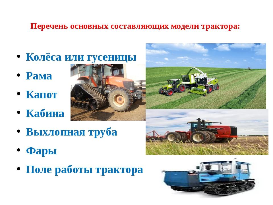 Перечень основных составляющих модели трактора: Колёса или гусеницы Рама Кап...