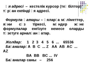 Ұя адресі – кестелік курсор (теңбілтор) тұрған екпінді ұя адресі. Формула қат