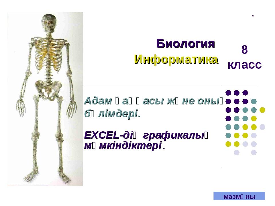 . Биология Информатика Адам қаңқасы және оның бөлімдері. EXCEL-дің графикалық...