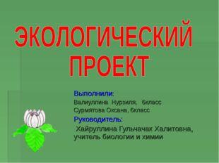 Выполнили: Валиуллина Нурзиля, 6класс Сурмятова Оксана, 6класс Руководитель: