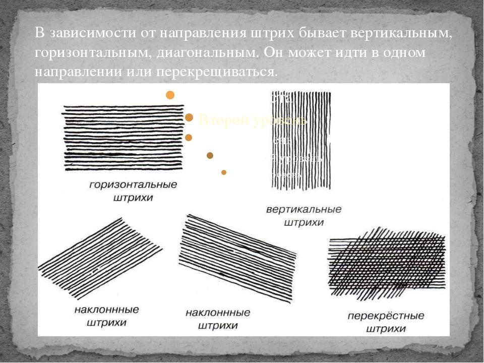 В зависимости от направления штрих бывает вертикальным, горизонтальным, диаго...