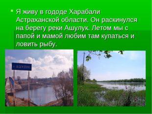 Я живу в гододе Харабали Астраханской области. Он раскинулся на берегу реки А