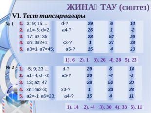 ЖИНАҚТАУ (синтез) VI. Тест тапсырмалары № 1 № 2 1). 6 2). 1 3). 26 4). 28 5).