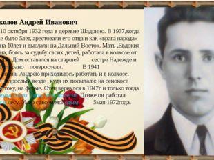 Соколов Андрей Иванович Родился 10 октября 1932 года в деревне Шадрино. В 19