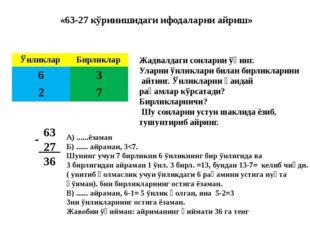 «63-27 кўринишидаги ифодаларни айриш» Жадвалдаги сонларни ўқинг. Уларни ўнли
