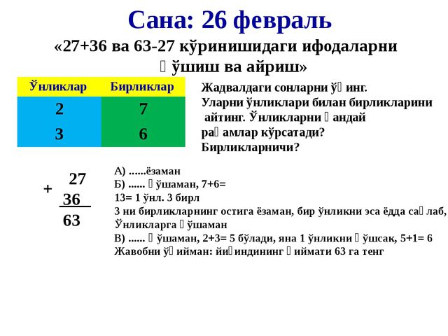 Сана: 26 февраль «27+36 ва 63-27 кўринишидаги ифодаларни қўшиш ва айриш» Жадв...