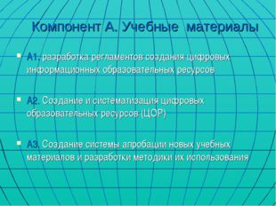 Компонент А. Учебные материалы А1. разработка регламентов создания цифровых и