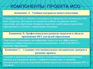 КОМПОНЕНТЫ ПРОЕКТА ИСО Компонент А. Учебные материалы нового поколения Компон