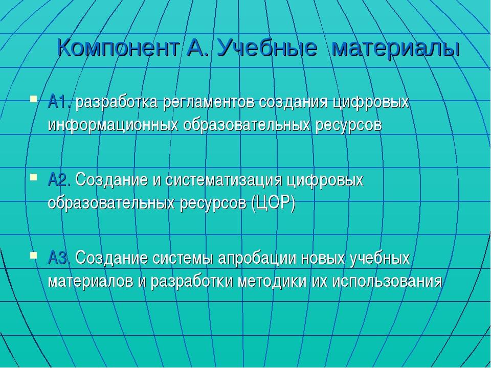 Компонент А. Учебные материалы А1. разработка регламентов создания цифровых и...