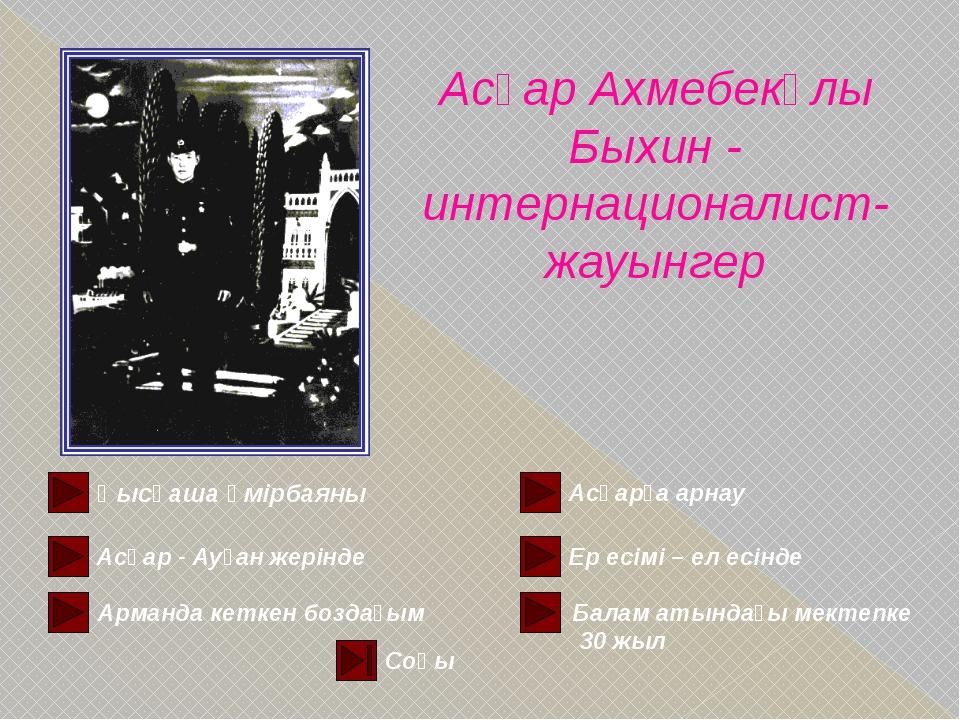Мазмұнына қайта көшу АСҚАР АХМЕТБЕКҰЛЫ БЫХИН (1961—1980) БЫХИН Асқар Ахметбек...