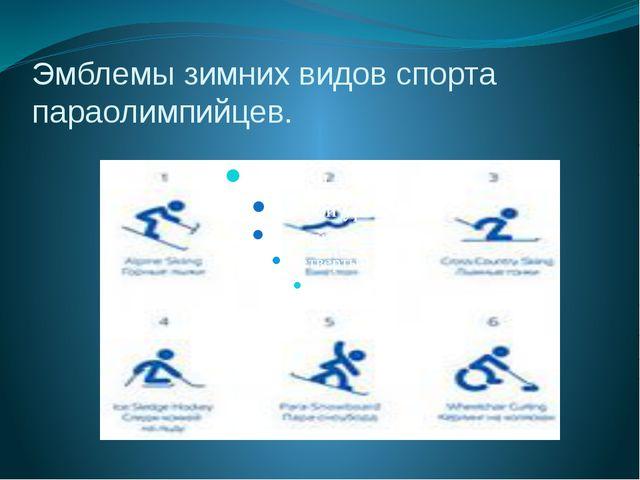 Эмблемы зимних видов спорта параолимпийцев.