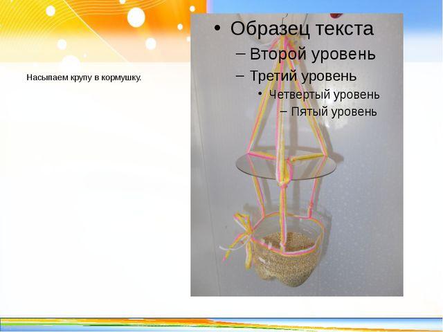 Насыпаем крупу в кормушку. http://linda6035.ucoz.ru/