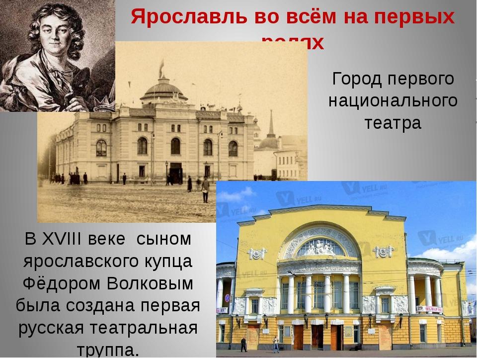 Ярославль во всём на первых ролях Город первого национального театра В XVIII...