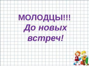 До новых встреч! МОЛОДЦЫ!!!