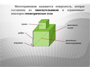 Многогранником называется поверхность, которая составлена из многоугольников