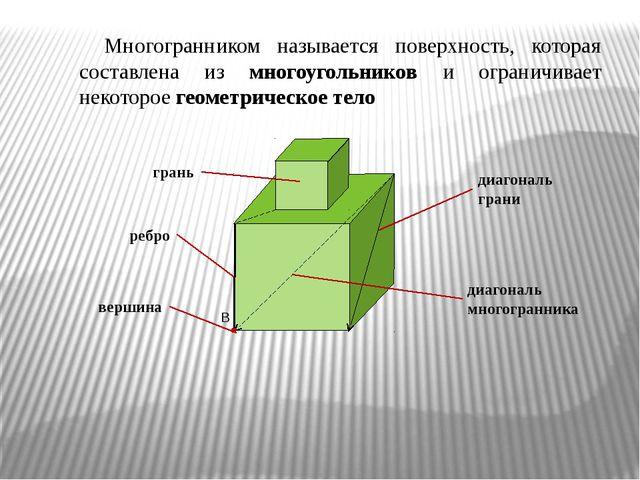 Многогранником называется поверхность, которая составлена из многоугольников...