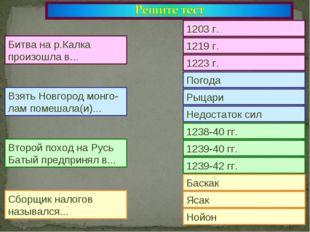 1203 г. 1219 г. 1223 г. Погода Рыцари Недостаток сил 1238-40 гг. 1239-40 гг.
