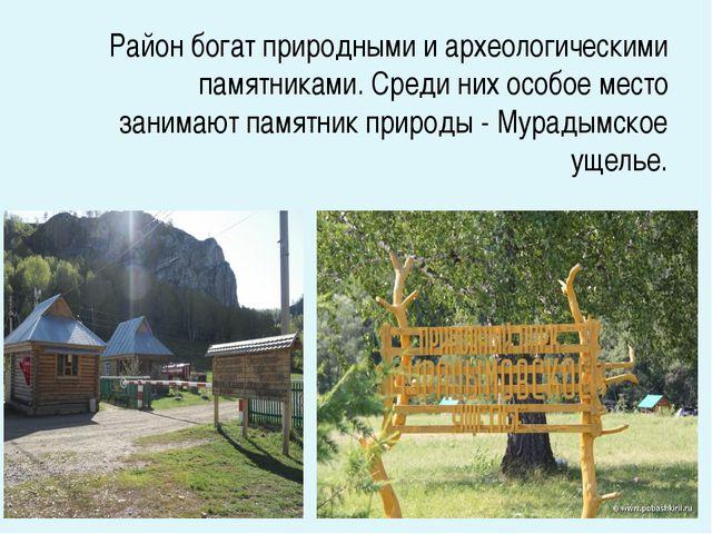 Район богат природными и археологическими памятниками. Среди них особое мест...