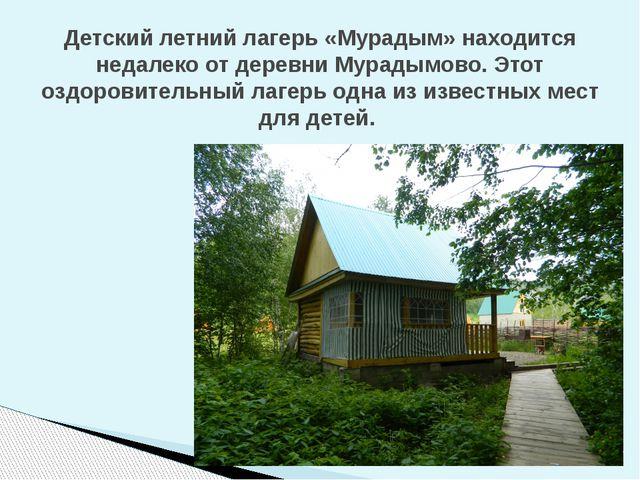 Детский летний лагерь «Мурадым» находится недалеко от деревни Мурадымово. Это...