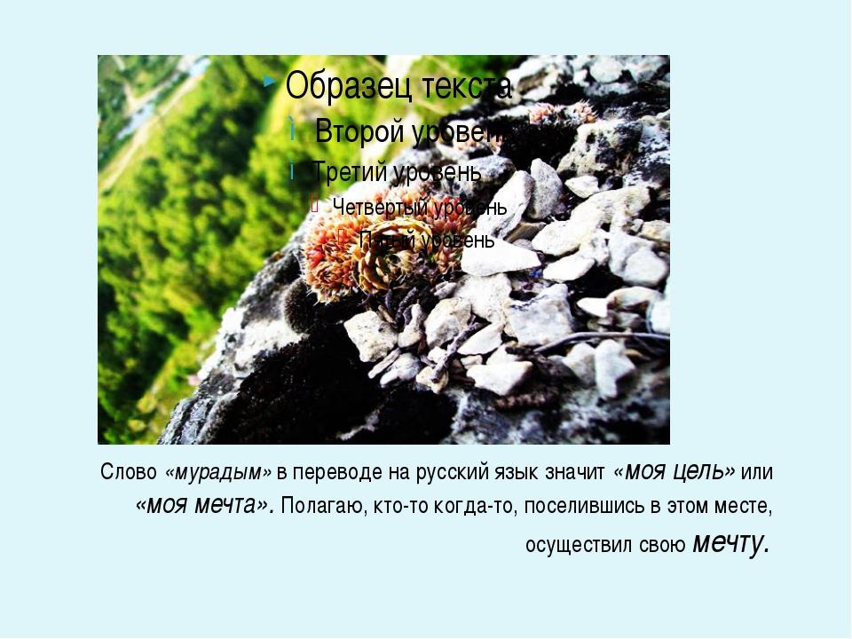 Слово «мурадым» в переводе на русский язык значит «моя цель» или «моя мечта»...