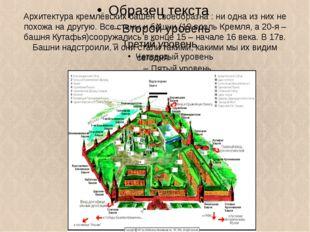 Архитектура кремлёвских башен своеобразна : ни одна из них не похожа на другу