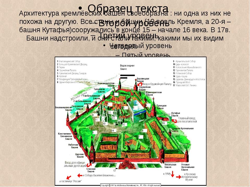 Архитектура кремлёвских башен своеобразна : ни одна из них не похожа на другу...