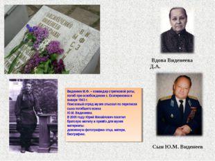 Вдова Виденеева Д.А. Сын Ю.М. Виденеев Виденеев М.Ф. – командир стрелковой р