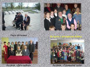 . Наши ветераны Встреча с ветераном войны Встреча «Дети войны» Встреча «Труже