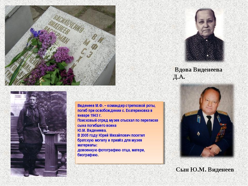 Вдова Виденеева Д.А. Сын Ю.М. Виденеев Виденеев М.Ф. – командир стрелковой р...