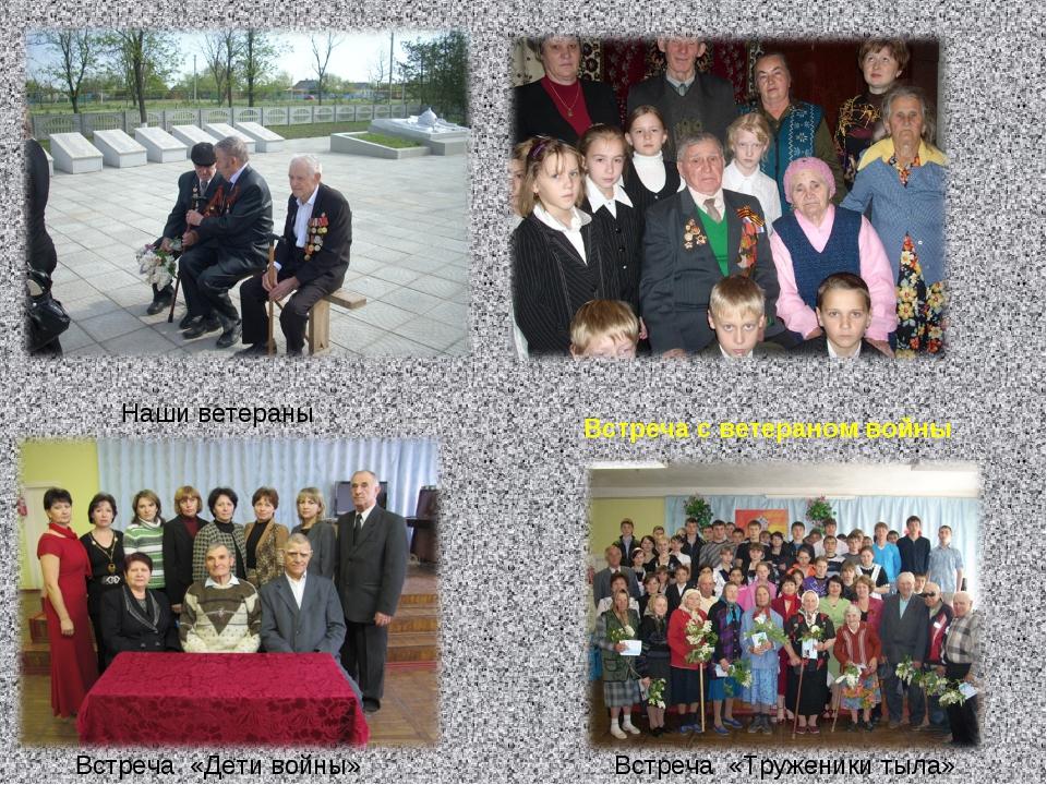 . Наши ветераны Встреча с ветераном войны Встреча «Дети войны» Встреча «Труже...