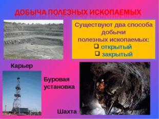 Шахта Карьер Буровая установка Существуют два способа добычи полезных ископае