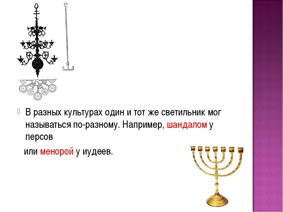 В разных культурах один и тот же светильник мог называться по-разному. Наприм...