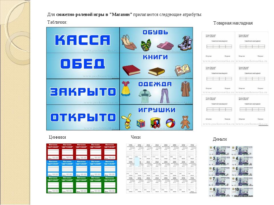 """Длясюжетно-ролевой игры в """"Магазин""""прилагаются следующие атрибуты: Табличк..."""