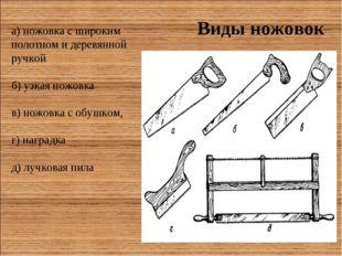 Виды ножовок а) ножовка с широким полотном и деревянной ручкой б) узкая ножов