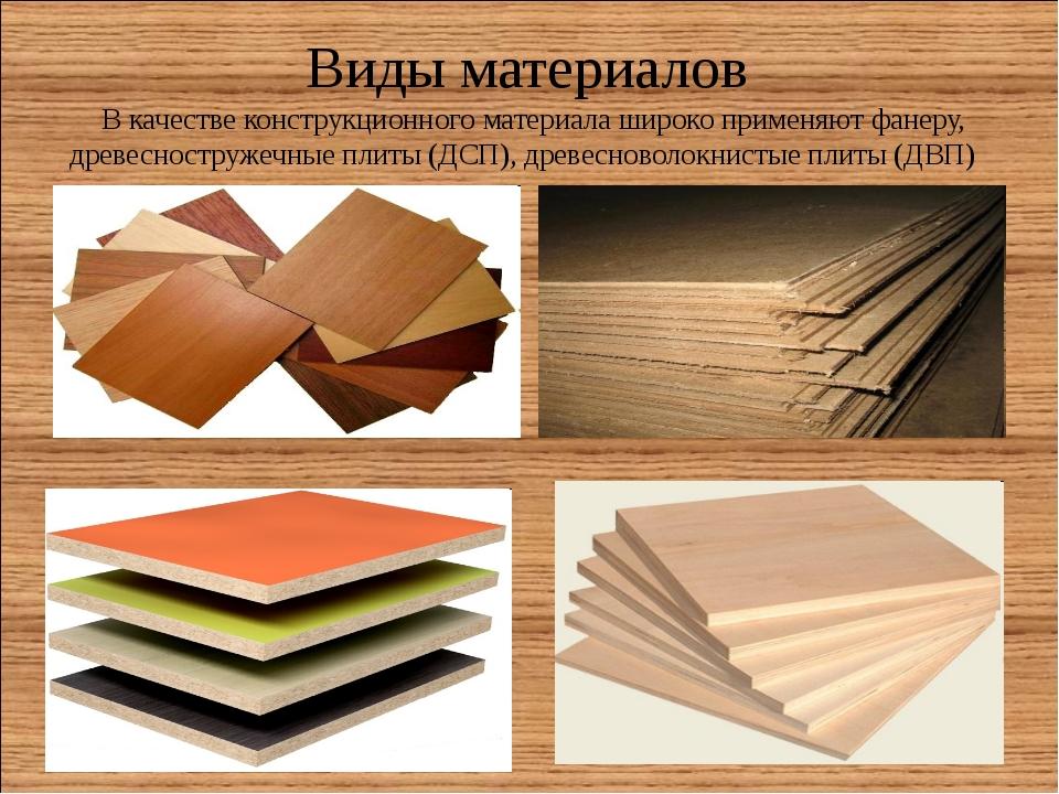 Виды материалов В качестве конструкционного материала широко применяют фанеру...